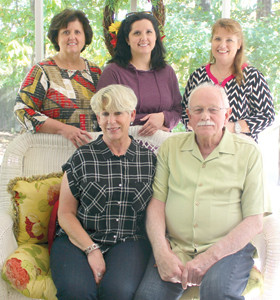 NEWFOUND relatives recently gathered to recount the story of how they found each other using an ancestry website and DNA testing. Clockwise from top left are local mother and daughter Cindy Shelton and Shelley Austin; their cousin, Lisa Tarver; and their newfound cousin and his wife, Jack and Jeannine Marvell.