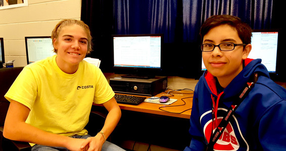 LUCAS BRYANT AND FABIAN ORTEGA complete Jasperactive learning activities during computer applications class at Walker Valley High School.