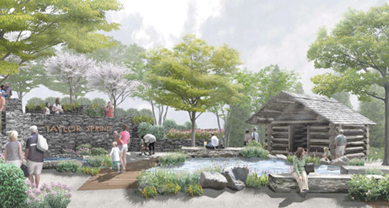 A TENTATIVE design has been created for how Taylor Spring Park, Cleveland's new downtown park, will appear when completed. A log cabin springhouse will cover the actual spring, which will flow out into a pool. Concrete walls and landscaping will also be incorporated. The historic site is just off 1st Street, considered the birthplace of the city.