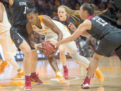 Stanford's Marta Sniezek (13) tries to take the ball away from Tennessee's Diamond DeShields (11) in the second half Sunday, in Knoxville.