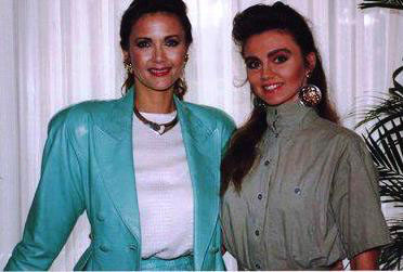 "St. Pierre posed with Lynda Carter (TV's ""Wonder Woman"") in Houston, Texas in 1990."