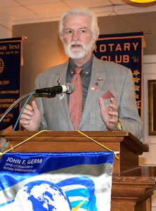 FRED HEITMAN, district governor for Rotary District 6780, speaks to the Bradley Sunrise Rotary Club recently.