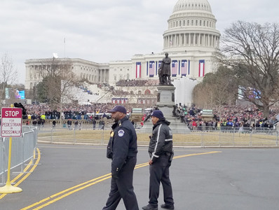 Members of the U.S. Capitol Police were a constant presence during Friday's inaugural events in Washington, D.C.