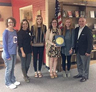 CLEVELAND HIGH SCHOOL Beta Club officers recently received special recognition from the state. From left are sponsors Jennifer Colbaugh and Anna Hutt, club officers Laney Brown, Madray Robinson and Harper Fuller, and State Rep. Kevin Brooks.