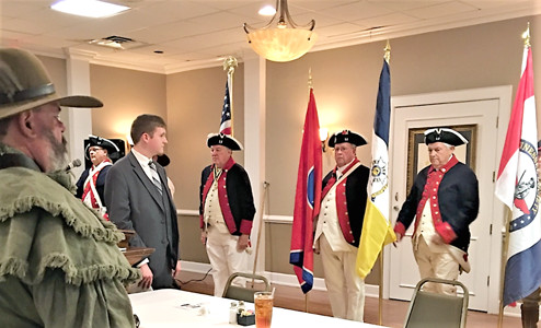 The Col. Benjamin Cleveland Chapter of Sons of the American Revolution Color Guard presented the Colors of the U.S., state of Tennessee, and Tennessee SAR Society. From left are John Clines,  Jim McKinney, Hunter McLain, Bob George, Claude Hardison and Randall Higgins.