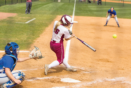 LADY FLAMES freshman Brooklynn Frazier homered, tripled and singled in Lee's Sunday win over Shorter.