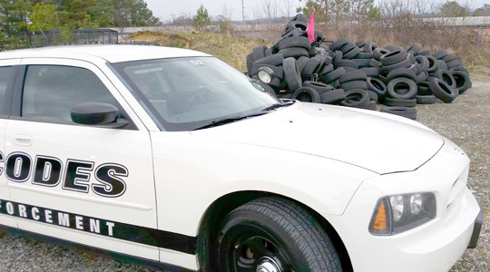 THE CLEVELAND Codes Enforcement Office checks out any reports of illegal tire dumping, such as this site where dozens of worn-out tires were illegally discarded.