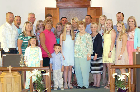 The family of Mary Frances Healan, Benton United Methodist Church historian, gather with her at the Easter Sunday church service.