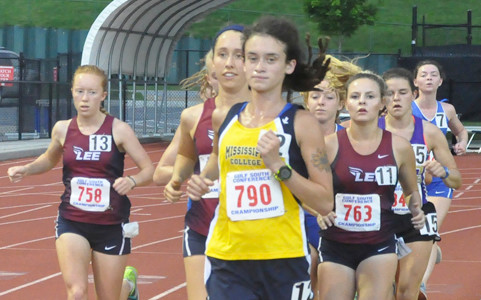 LEE UNIVERSITY runners, from left, Amy Carpenter, Audrey Smith and Logan Hernandez placed third, second and fourth, respectively, in the women's 10K at the Gulf South Conference Track & Field Championships in Rome, Ga., Thursday.
