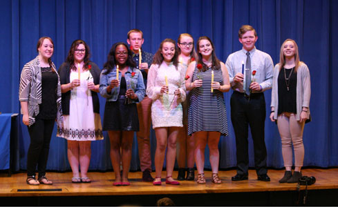 The following eight students earned at least 10 Thespian points through work in theater to be inducted into the society. From left are Hope Cummings (president), Olivia Anderson, Kiara Brewer, Malaki Cummings, Jaynae Wright, Cassie Jones, Lux Orr, and Patrick Pyott and Mady Hicks (vice president).