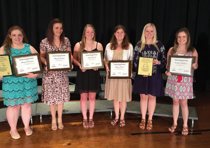This year's award recipients for Polk County were, from left, Abigail Firestone, Who's Who and Early Childhood Education Award; Abigale Phillips, Thespian Award; Holly Merrell, Biology Award; Allyson Shaner, General Chemistry Award; Lauren Passmore, Who's Who; and Kaitlyn McClary, Who's Who and Education Award.