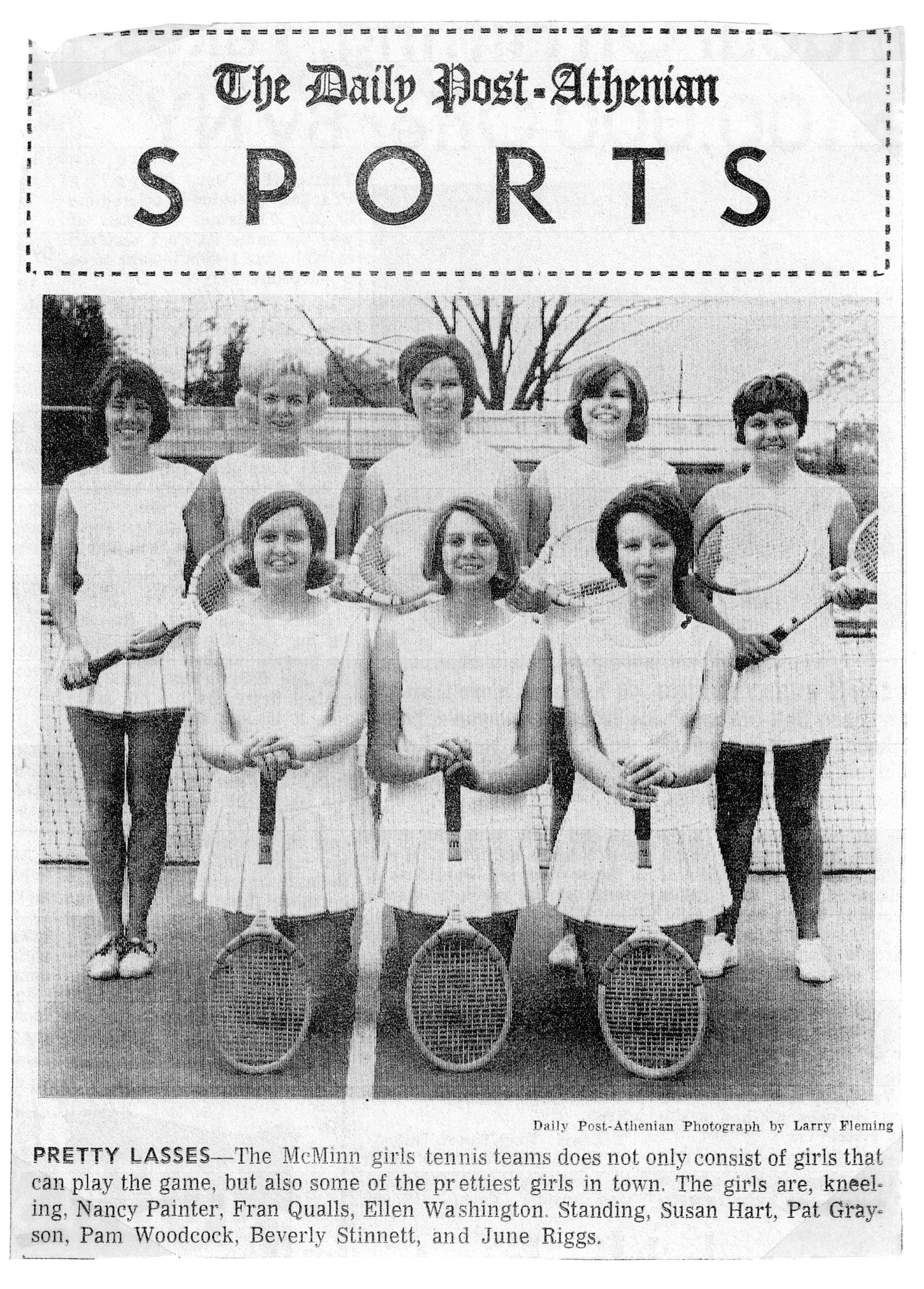 The McMinn County girls tennis team included Nancy Painter Casson, kneeling front left.