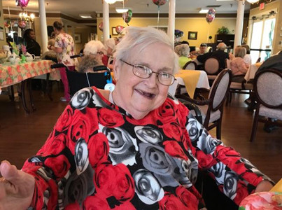 Resident Judy Rayburn was the happiest mom at the Morningside tea.