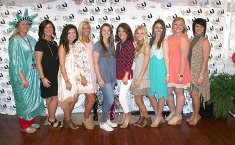 EMPLOYEES of Simply Chic Boutique modeled during National Nursing Home Week, at Life Care Center of Cleveland on Monday. From left are Deborah Norton (activities director), Jennie Evans, Kari Hall, Laney Houston, Sydney Morgan, Lindsay Vest (business development director), Allie Poteet, Victoria Jones, Makayla Parris and Christel Hudgins.