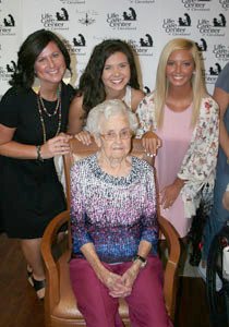 Violet Carr, center, is surrounded by Jennie Evans, Kari Hall and Laney Houston. Life Care Center of Cleveland is celebrating National Nursing Home Week.