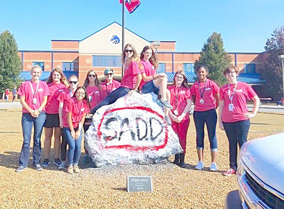 THE WVHS CHAPTER of Students Against Destructive Decisions helped in coordinating several events at the school promoting teen driving safety. From left are advisers Jessica Stone and April Richards, and students Ivy Miller, Meredith Jones, Kayleigh Shoemate, Anabel Patrick, Makayla Shoemate, Jessica White, Maddie Goodwin, Jessica L. Brown and Alexis Trueblood.