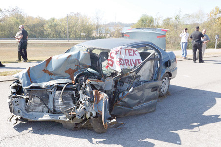 THIS VEHICLE was used during a simulated mock drill at Walker Valley High School this past year, one of the events that helped the school receive a gold award from the Tennessee Highway Safety Office.