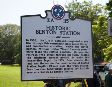 "THIS IS THE HISTORIC Benton Station marker commemorating the importance of William Hinton ""Bear"" Lawson's contribution to the Benton community."