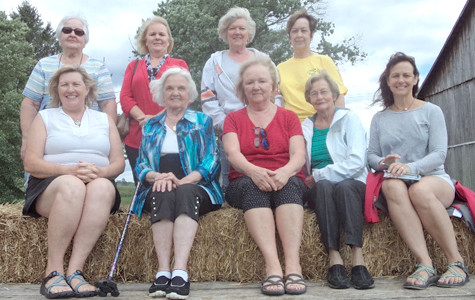 The Magnolia Garden Club held its monthly meeting recently at the Lamon Farm, where members were given a guided tour by the owners' grandchildren. From left, front, are Sheila Webb, Annette Stanbery, Ginger Cloud, Elsie Yates and Brenda Nakdimen; and back, Patsy Bettis, Sheila Cardin, Linda Cross and Sue Taylor.