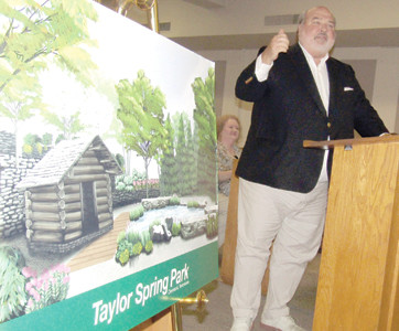 CLEVELAND BUSINESSMAN Allan Jones speaks to the Bradley County Commission about helping to complete the proposed Taylor Spring Park in downtown Cleveland.