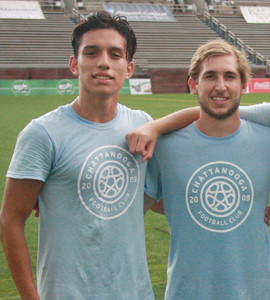 DAVID CAMACHO-Ordaz (left) and former Walker Valley High School teammate Sam Gibson (right) pose together after playing in the Tennessee-Georgia All-Star match at Finley Stadium Thursday.