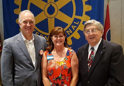 Cleveland Rotarian Jay Leggett introduced Cleveland BBB  Executive Director Lisa Geren and BBB President/CEO Jim Winsett at a recent luncheon.