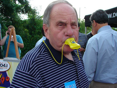 Cleveland Mayor Tom Rowland got stuck with a duck bill in his mouth during a past Great Cleveland Duck Race.