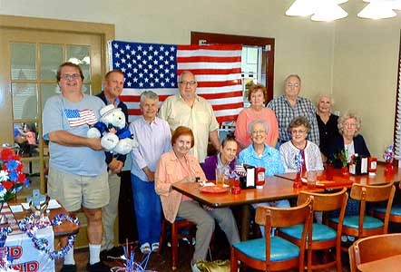 "The United Club met on June 27 at the Golden Corral.  Those present at the monthly meeting were, from left, front, Wanda Thompson, Elva Combs, Opal Deverell, Bertha McAlister and Bettie Marlowe; and back, Shawn Markie, Jason Butte, Deborah Fields, Paul Denton, Pat Thompson, W.A. ""Bill"" Wilhite and Shirley Shadden."