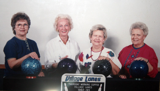 During her more active years, she and several friends posed while bowling at Village Lanes.