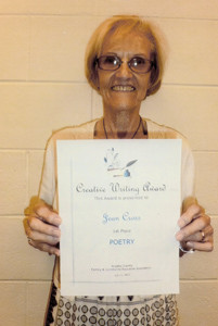 Jean Cross, Sunshine FCE member, was recently awarded first place with her creative writing entry at the annual Bradley County FCE Cultural Arts event.