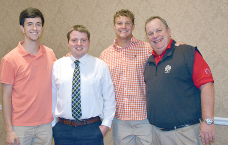 RATTERMAN-SHELL scholarship recipients who are going to be sophomores in college are, from left, Chase Henderson, Matt Pankey and Tyler Carpenter, with committee chairman Mark Smith.