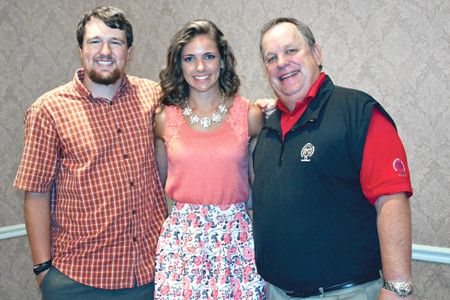 AS THEY BECOME seniors in college, those receiving Ratterman-Shell scholarships to complete their schooling are, from left, Logan Melton and Monica Allison, shown with scholarship committee chairman Mark Smith. Also receiving a scholarship stipend as he becomes a senior is Cal Pickel.