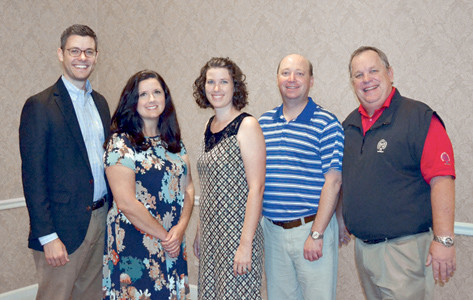SEVERAL PAST scholarship recipients were in attendance at Friday's Ratterman-Shell Scholarship Dinner, including from left, David Hicks, Shelly Austin, Amy Blackwood and Lee Turpin, shown with Mark Smith, scholarship committee chairman.