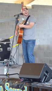 COLE SITZLAR opened the entertainment at the Calhoun River Town Festival Saturday, playing inside the new pavilion at the Hiwassee Meadowlands Park.