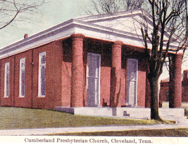 A COPY of a rare postcard of Cleveland's First Cumberland Presbyterian Church, the brick building constructed in 1857 at a cost of $4,000. The postcard was mailed to E.C. Clark in Abingdon, Va., in 1913. The four brick columns were said to be the only brick columns in the country, at that time.