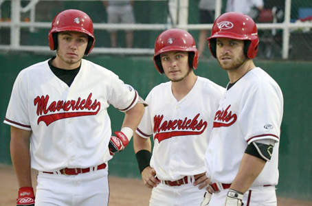 TENNESSEE BASEBALL standouts, from left, Caleb Longley, Blake Rowlett and Chris Caffrey are leading the Medicine Hat Mavericks into Western Major Baseball League playoffs. Longley and Caffrey were teammates at Walker Valley and Cleveland State before going to play for ETSU and SE Missouri State respectively.