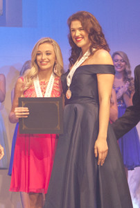 LEAH HUMBLE, of Sevier County,  left, named as 2018 Distinguished Young Woman of Tennessee Saturday at the Lee University's Dixon Center.  The 2017 DYW,Halla Maynard, right, congratulates Humble on her win.