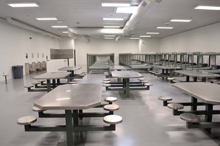 THE BARRACKS-STYLE workhouse areas will house nearly 50 inmates in each large facility. Bunk beds, bathroom facilities and tables are available in the large holding areas.