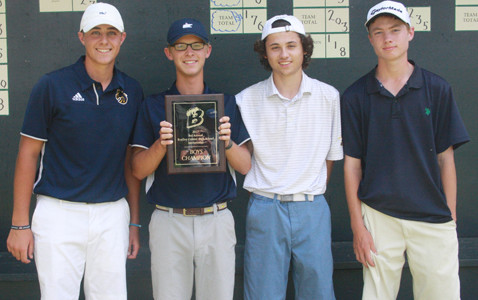 WALKER VALLEY won the boys team title at the Bradley Central Invitational at the Cleveland Country Club on Monday afternoon. From left are Cade Puryear, Parker Gray, Nick McCracken and Dalton Sutton.