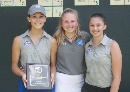 THE LADY RAIDERS walked away with the Bradley Central Invitational team championship title as the start to the high school golf season teed off at the Cleveland Country Club on Monday. From left are Rheagan Hall, Ellie Mills and Emma Crouch.