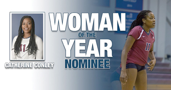 LADY FLAME volleyball standout Catherine Conley is one of two Gulf South Conference nominees for the NCAA Woman of the Year honor. Conley had five games last season with more than 10 kills as she averaged 2.08 kills per set.