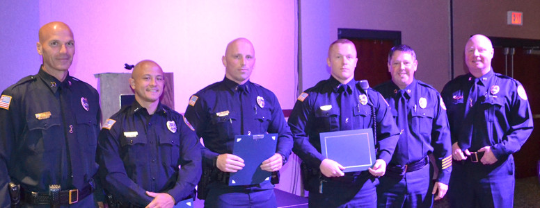 THREE OFFICERS were recognized with Military Service awards for serving in any branch of the Armed Services and being honorably discharged from their respective branch of service.