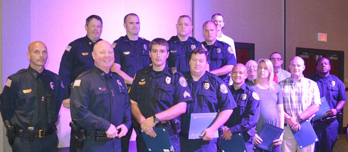 OFFICERS received Community Service awards for exceptional service to his or her fellow man, or the community which is relative to the ideals of law enforcement service and the overall public good.