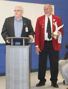 CTE DIRECTOR Renny Whittenbarger, left, sang the praises of CHS culinary advisor Chef Clyde Rush, who was named Regional Advisor of the Year for SkillsUSA.