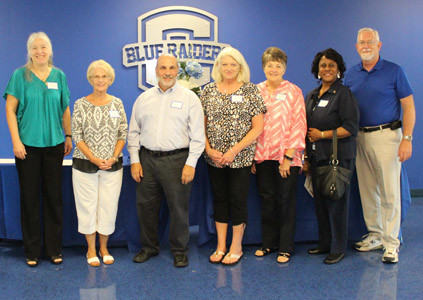 CLEVELAND CITY SCHOOLS retirees were honored during Monday night's Board of Education meeting at Raider arena. A total of 19 former CCS employees were recognized, although not all were present. From left are Eileen Gonzales, Judy Cobb, Frank Lear, Sheree Stone, Brenda O'Neal, Edwina Robinson and Franklin Odom.