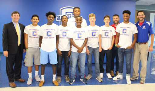 MEMBERS OF THE 2016-17 Cleveland Middle School boys track team received special recognition at Monday's Board of Education meeting for winning the TMSAA State track meet last spring.