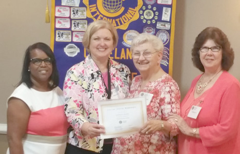 From left are  Adonia Johnson, Civitan member; Diana Jackson, Cleveland Civitan Club president; Gann; and Veronica Fox, Civitan member.