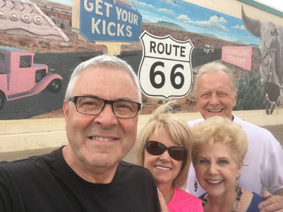 TERRELL BRINSON and his wife, Debbie, and Larry Timmerman and his wife, Jan, traveled Route 66 to California, not only showing off their vintage automobiles and seeing the sights, but also conducting several services at churches along the trip.