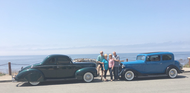 THE TIMMERMANS and Brinsons traveled Route 66 to the California coast, where they posed their vehicles with the Pacific Ocean in the background.