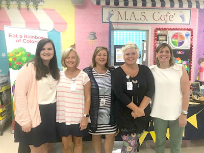 KINDERGARTEN STAFF at Michigan Avenue Elementary welcome their new students. From left are Taylor Fugate, Mrs. Banner, Mrs. Fields, Jennifer Long and Amy Criddle.